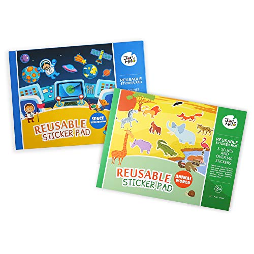 Jar Melo Reusable Sticker Pads Set; Great Assorted: 2 Packs - Animal World; Space Exploration; Over 265 Stickers; Separated Scenes