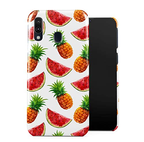 DODOX Tropical Exotic Pineapples & Watermelon Slices Pattern Case Compatible with Samsung Galaxy A40 Pro Snap-On Hard Plastic Protective Shell Cover Carcasa