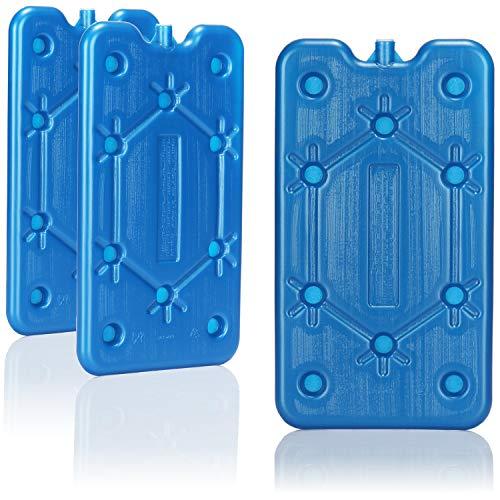 com-four® 3X Flaches Kühlakku - Platzsparend und ideal für Kühlbox und Kühltasche - Schmales Kühlelement für Camping und Strand (03 Stück - mittel)