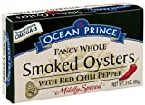 Ocean Prince Smoked Oysters with Red Chili Pepper, 3 Ounce Cans (Pack of 18)