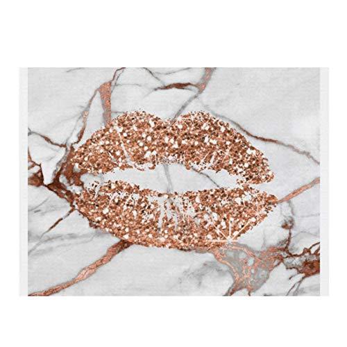 Rose Gold Marmor Kiss Lippen Make-up Kupfer saugfähige Geschirr-Trockenmatte Multifunktions und Mikrofaser Trocken-Pad für Küche Theke Waschbecken Esstisch 40 x 29 cm