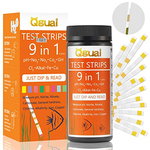 Qguai Aquarium Test Strips, 9 in 1 Aquarium Water Test Kit for Freshwater Saltwater Pond Water Fish Tanks, Help Prevent Invisible Problems by Monitoring Nitrate, Nitrite, PH, Free Chlorine and More