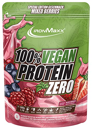 IronMaxx 100 Prozent Vegan Protein Zero veganes 3 Komponenten Eiweiß Pulver, Geschmack Mixed Berries, 500g Beutel (1er Pack)