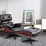 NORAN Lounge Chair Genuine Leather Recliner with Ottoman Mid Century Heavy Duty Aluminum Base, 360 Degree Swivel Modern Chaise for Bedroom/Living Room/Office Hose Chair (Rosewood + Black)