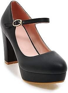 BalaMasa Womens Dress Travel Platform Solid Urethane Pumps Shoes APL10537