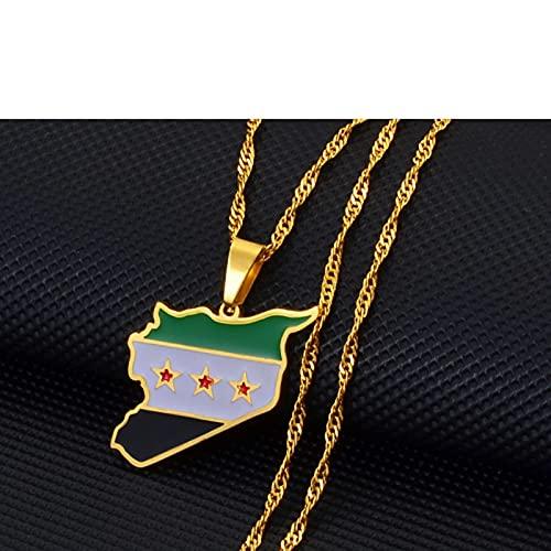 Karte Von Syrien Anhänger Halsketten - Charme Afrikanischen Ethnischen Karten Flagge Dünne Kette Halsketten, Patriotische Gold Farbe Karte Hip Hop Schmuck Für Frauen Männer Party Geschenk, Gold,