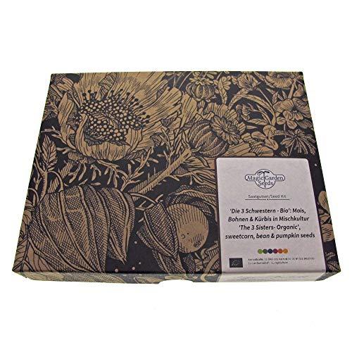 Les 3 Sœurs (Bio) - kit cadeau de graines avec maïs, haricots & courges pour un carré de légumes Milpa traditionnel
