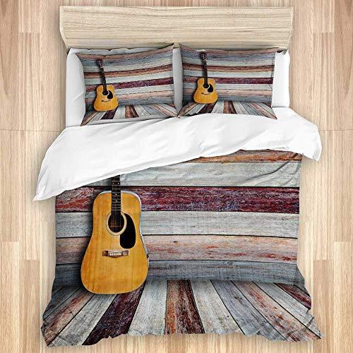 Juego de funda nórdica de 3 piezas, guitarra en habitación de madera vintage, juegos de fundas de edredón de microfibra de lujo para dormitorio, colcha con cremallera con 2 fundas de almohada