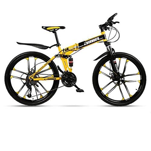 Mountain Bike bicicletta MTB Sportiva da Montagna Mountain bike, pieghevole in acciaio al carbonio telaio hardtail Bike, Full Suspension e Dual freno a disco, 26inch Ruote Mountain Bike Mens Bicycle B