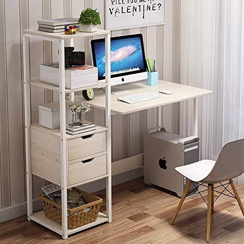 UWY Scrivania Moderna per Computer con libreria, scrivania con 2 cassetti Ripiani angolari a Torre Scrivania per Ufficio da casa per Piccoli spazi