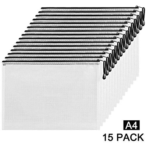 Etroshare 15Pcs A4 Reißverschlusstasche Dokumententasche Reißverschlussbeutel Zip Tasche Zip Beutel Mesh Bag mit Reißverschluss(Schwarz)
