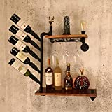N/Z Home Furnishings Wine Rack Wall Mounted Creative Industrial Water Pipe Rack...