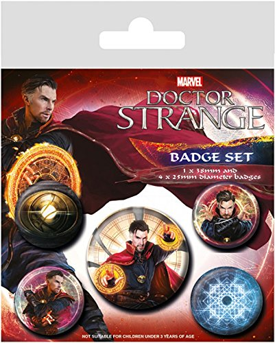 1art1 Doctor Strange - Magic Badgepack, 1 X 38mm & 4 X 25mm Buttons Button Pack 15 x 10 cm