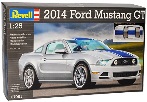 Revell Ford Mustang V 2. Generation Coupe Silber mit Blauen Streifen 2009-2014 07061 Bausatz Kit 1/24 Modell Auto