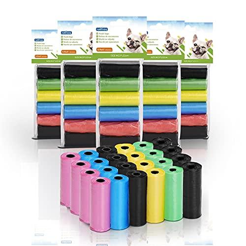 Nobleza - 1080 Conde Bolsas Caca Perro Bolsas para excrementos de Perros Pack de 72 Rollos 5 Colores