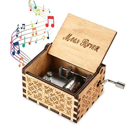 Womdee Music Box Tema Moon River, Manivela Artesanía De Madera con Caja De Música...