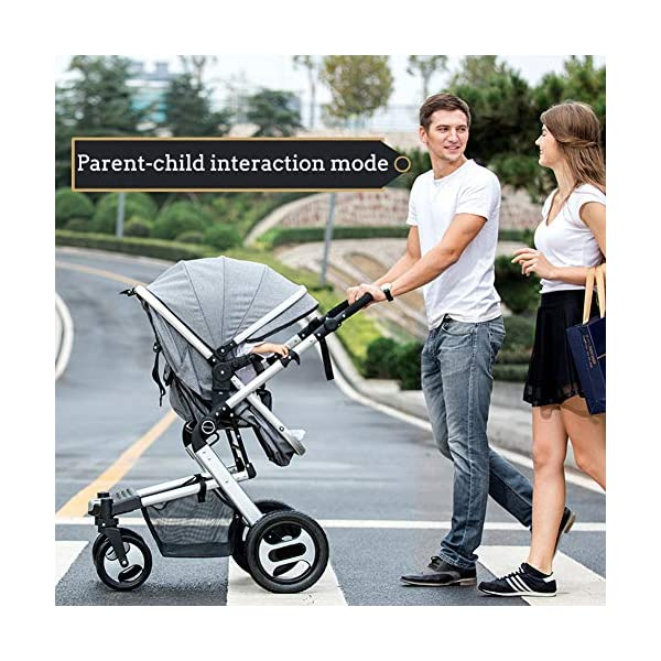 RUXGU High landscape Pushchairs 2-in-1 Baby stroller Travel Systems Folding Lightweight Newborn Safety System With Rain Cover and Mom Bag(Gray) RUXINGGU High landscape stroller, baby travel system High-performance shock absorption guarantees comfort for infants Spacious basket, high view, suitable for outdoor use 5