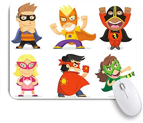 HASENCIV Alfombrilla de Ratón,Niños disfrazados de superhéroes Sala de juegos para niños Niñas Niños Guardería Imagen infantil,Alfombrilla de ratón gaming,Base de Goma Antideslizante,Mouse Pad 24x20cm