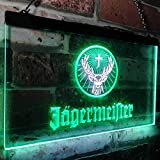 zusme Jagermeister Deer Drink Bar Novelty LED Neon Sign White + Green W16 x H12