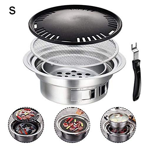 Ecisi Portable BBQ Barbecue Charcoal Grill, Stainless Steel Reusable Japanese Korean Style Yakiniku Grill with Adjusted Air Valve for Outdoor Garden Party Beach