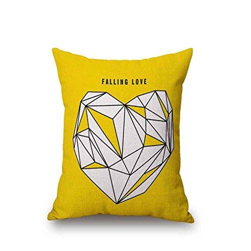 Cojín amarillo decorado de algodón de lino
