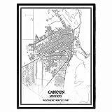 Cancun México Mapa de pared arte lienzo impresión cartel obra de arte sin marco moderno mapa en blanco y negro recuerdo regalo decoración del hogar