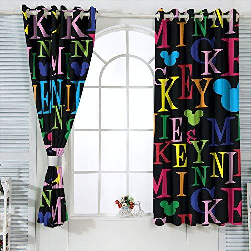 Cortinas decorativas Mic-key Min-nie Mouse Cortinas para sala de estar infantil Cortina opaca para ventana de 72 x 63 pulgadas