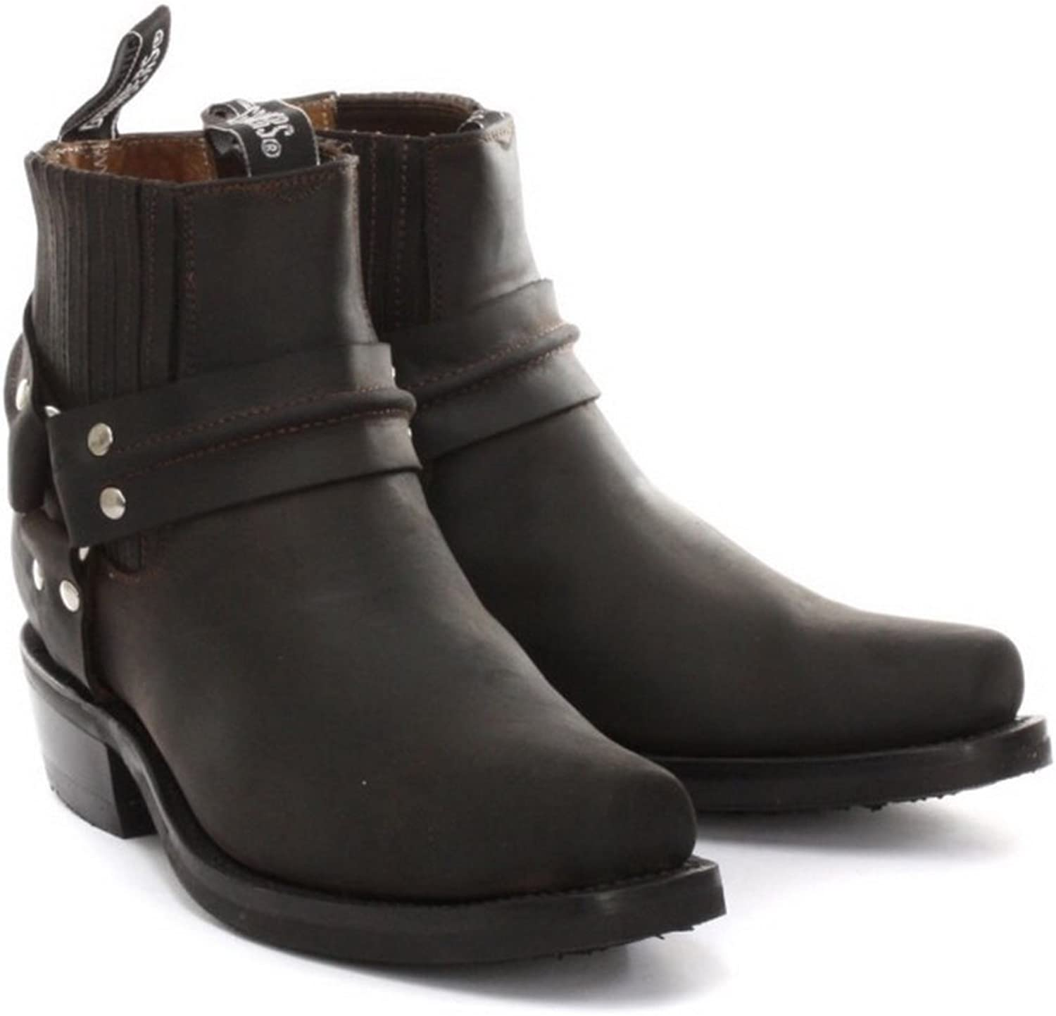 Grinders New Renegade Ankle Brown Riding Cowboy Boots with Three Way Ankle Strap Design