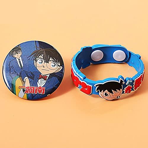 TTKAIDAN Detective Conan Insignia temática de anime y pulsera de goma suave Pulsera de joyería suave Pulseras de goma Accesorios de cosplay Favores de fiesta de cumpleaños Adecuado para regalos de gra