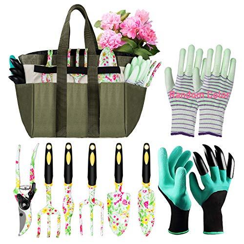 Eslibai Garden Tools Set, 9 Gardening Tools with Soft Garden Gloves and Beautiful Garden Tote Fairy Gardening Gifts Set with Garden Trowel and More