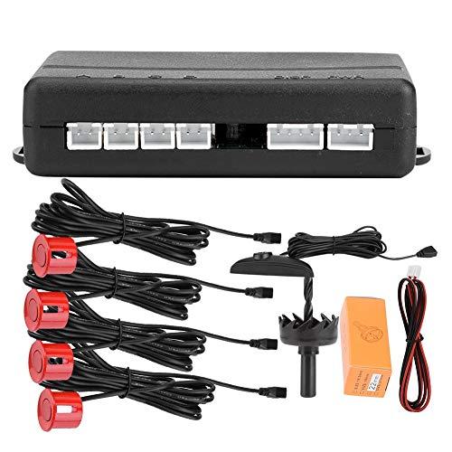 KIMISS 12V DC Universal Kfz PDC Parksensor Sensor, Digital farbiger Umkehrradar, Sensor für die Einparkhilfe für hohe Empfindlichkeit, Auto Detector-System mit 4 Radarsensoren, 0,3-2,5 m(Rot)