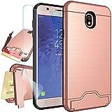 Samsung Galaxy J7 2018 Case,J7 Refine,J7 Star,J7 Top,J7 Crown,J7 Aura,J7 Aero Case with Screen Protector,NiuBox Card Slot Wallet Holster Kickstand Protective Phone Case for J7 V 2nd Gen Rose Gold