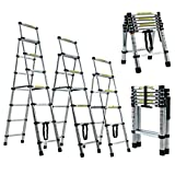 Aluminum Telescoping <span class='highlight'>Ladder</span>s <span class='highlight'>Telescopic</span> Extension <span class='highlight'>Ladder</span> 6.4FT 6 7 Steps <span class='highlight'>Ladder</span>, A-Type Folding <span class='highlight'>Ladder</span>s with EN131 Certified, Max Capacity 150KG/330LBS for Outdoor & Indoor Use (2M-2.3M)