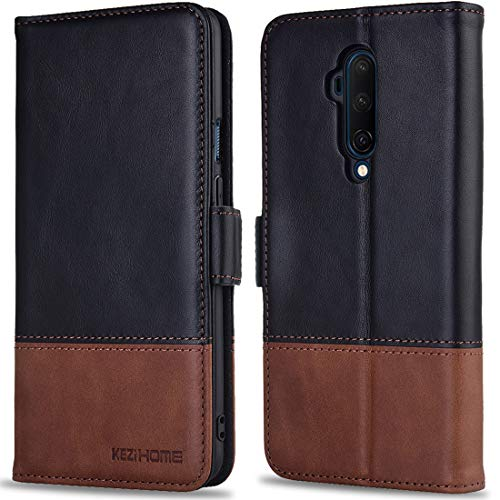 KEZiHOME Oneplus 7T Pro Case, Oneplus 7T Pro Wallet Case, [RFID Blocking] Genuine Leather Wallet Flip Folio Case Cover with Card Slot, Stand Holder, Magnetic Closure for Oneplus 7T Pro (Black/Brown)