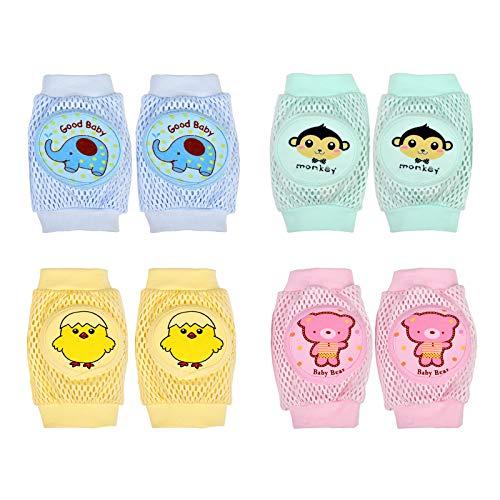 LANMOK Baby Knieschoner, 4 Paare Baby Stulpen Kleinkinder Kniegelenk Protektor Atmungsaktiver Knieschützer Elastischer Krabbelschutz für Indoor Outdoor Sommer