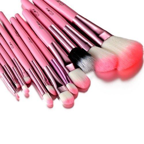 Rose Ensemble de pinceaux de maquillageéclatantEnsemble de -12 pièces pour le maquillage du visage et des yeux - Kit de pinceaux polyvalents avec étui en similicuir élégant - Couleur noire