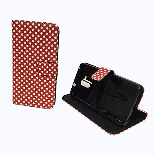 König Design Handyhülle Kompatibel mit Huawei Honor 5c Handytasche Schutzhülle Tasche Flip Hülle mit Kreditkartenfächern - Polka Dot Weiße Punkte Rot