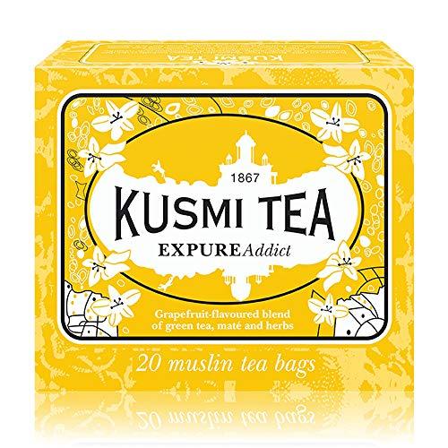 Kusmi Tea - Expure Addict - Grüner Tee mit Mate, Rooibos und Kräutern, aromatisiert - Grapefruit - 20 einzeln verpackte Teebeutel