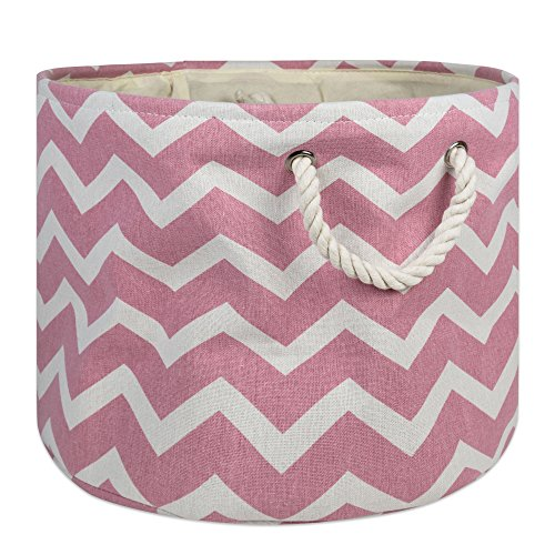 DII Collapsible Polyester Storage Basket or Bin with Durable Cotton Handles, Home Organizer Solution for Office, Bedroom, Closet, Toys, & Laundry(Large Round – 15x16'), Rose Chevron