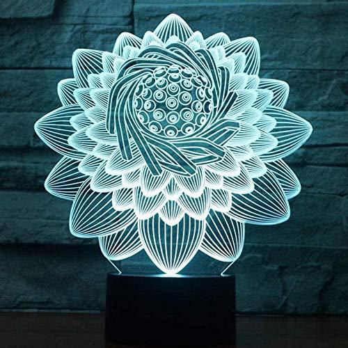 Lámpara de ilusión 3D LED noche luz USB 16-color loto en forma de sueño táctil lámpara de escritorio hogar niños s habitación decoraciones amigos regalos