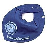 Elefantasie Halstuch Löwe mit Namen oder Text personalisiert taubenblau für Baby oder Kind