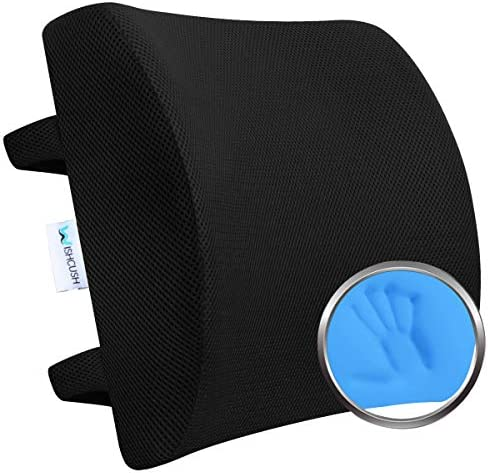 Wishcush Lumbar Support Pillow for Chair Memory Foam Back Cushion for Car with Breathable 3D product image