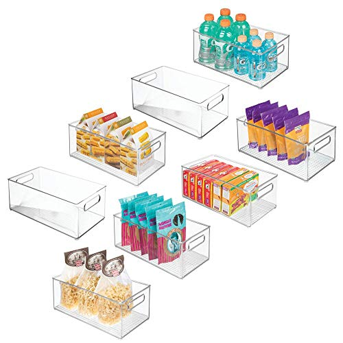 """mDesign Deep Plastic Kitchen Storage Organizer Container Bin with Handles for Pantry, Cabinets, Shelves, Refrigerator, Freezer - BPA Free - 14.5"""" Long, 8 Pack - Clear"""
