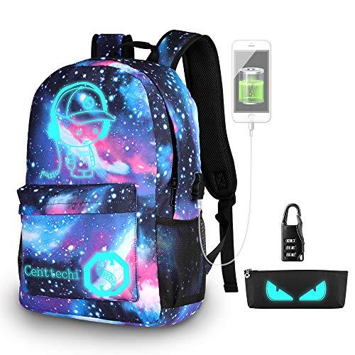 Anime di moda zaino, Ragazze di moda zaino luminoso Scuola Borsa Galaxy modello Daypack Antifurto Viaggio grande capacità Backpack per Bambini Giovani Uomini Donne con Porta di Ricarica USB e Lock