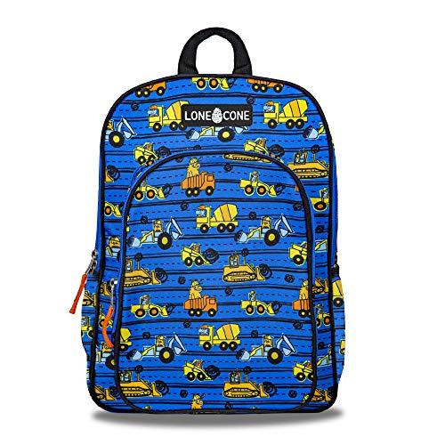 """LONECONE Kids' 15"""" Backpack for Boys & Girls in Preschool, Kindergarten, Construction Monsters"""