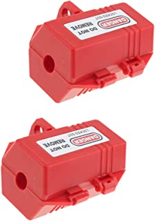 Homyl 2 Pcs Plug Lockout, Red, for 0.7in Cord Dia. and 0.28in Padlock Shackle Dia.