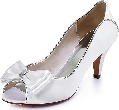 Qiusa Les Les dames Noeuds Peep Peep Toe Sandales de Mariage en Plein air (Couleuré   Ivory-5cm Heel, Taille   4 UK)  magasin d'usine