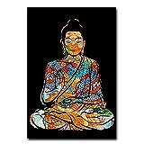 SIDIAN Bunte Drachen Tattoo Buddha Zazen Leinwanddruck Bild