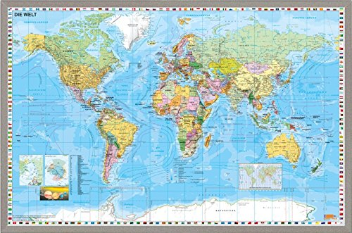 Weltkarte DEUTSCH Pinnwand aus Kork, ca. 59 cm (Höhe) x 89 cm (Länge) Worldmap