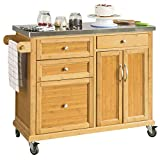 SoBuy® FKW70-N, Kitchen Storage Trolley Kitchen Island Kitchen Cabinet Cupboard Sideboard with Stainless Steel Top